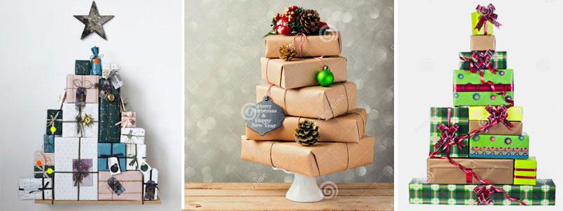 es una manera original de armar el arbol con los regalos presentes que vas a entregar esta navidad solamente tienes que apilar los paquetitos formando el